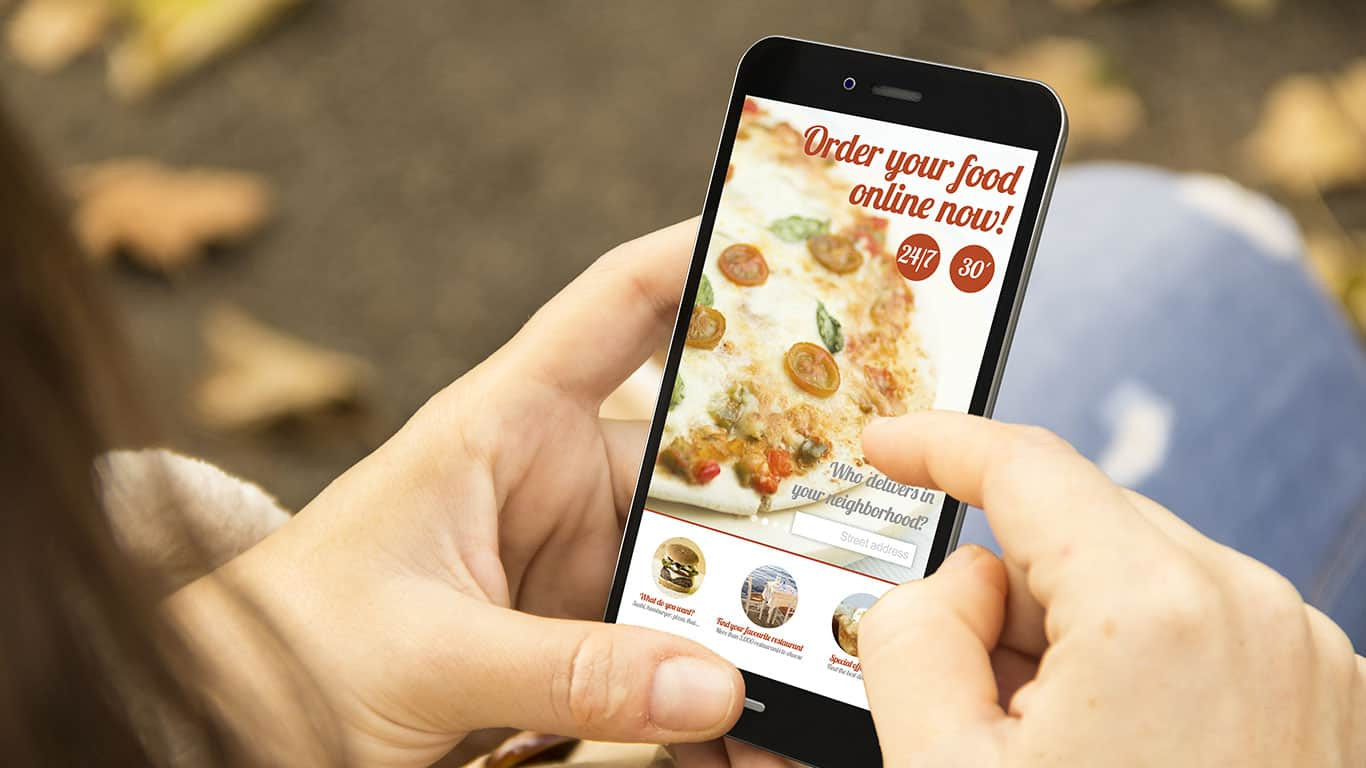 Order food concept: woman holding a 3d generated smartphone ordering fast food