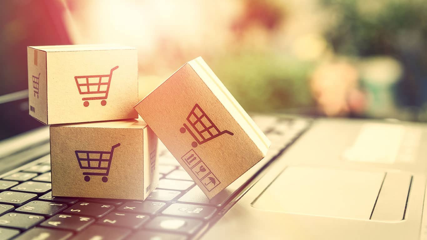 Online shopping retail ecommerce and delivery service concept