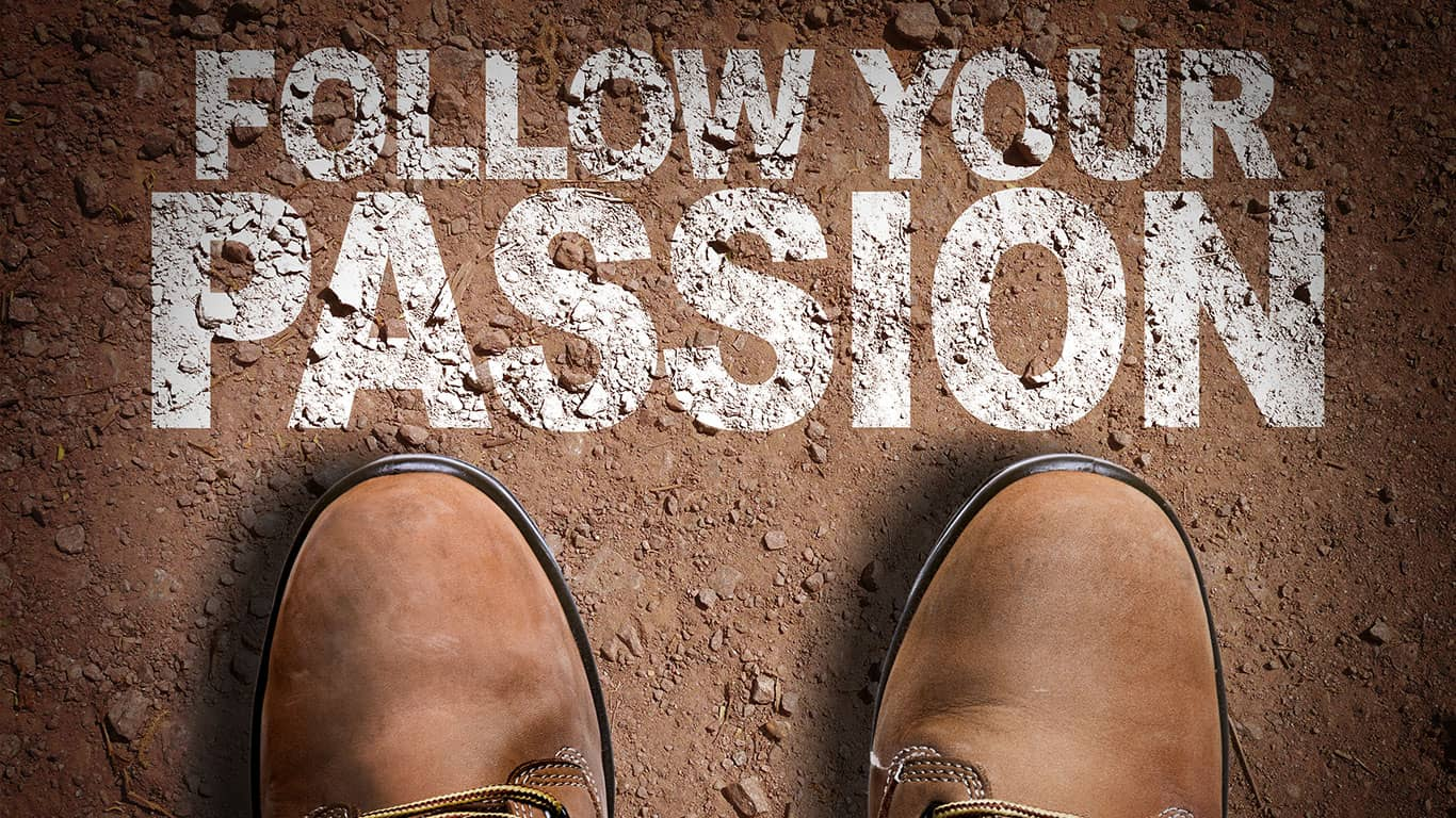 Top View of Boot on the trail with the text: Follow Your Passion
