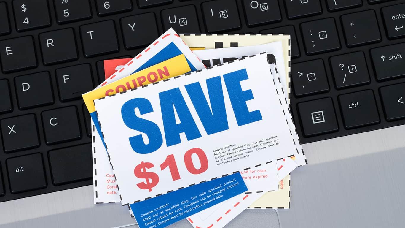 Saving discount coupon voucher on notebook keyboard