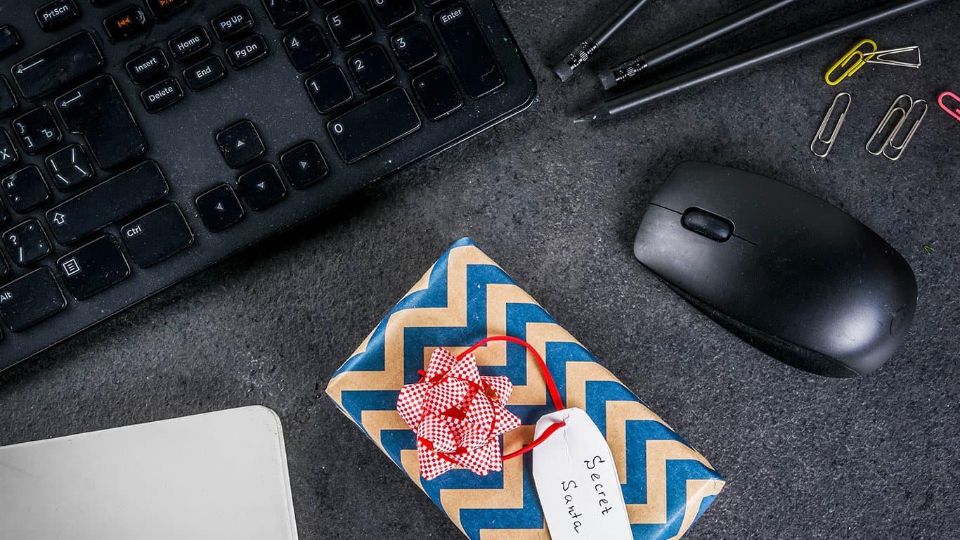 Office Christmas celebration concept, the idea of sharing gifts secret Santa