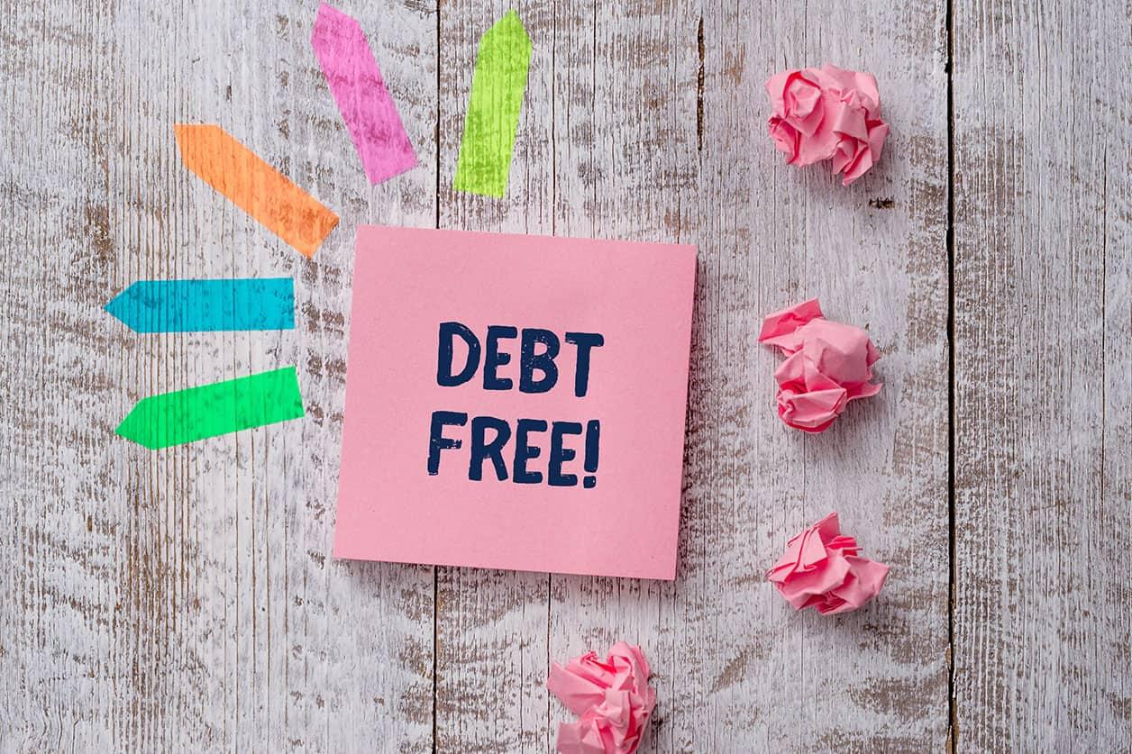 Handwriting text writing Debt Free