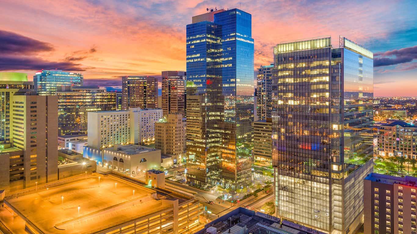 Phoenix, Arizona, USA cityscape in downtown at sunset