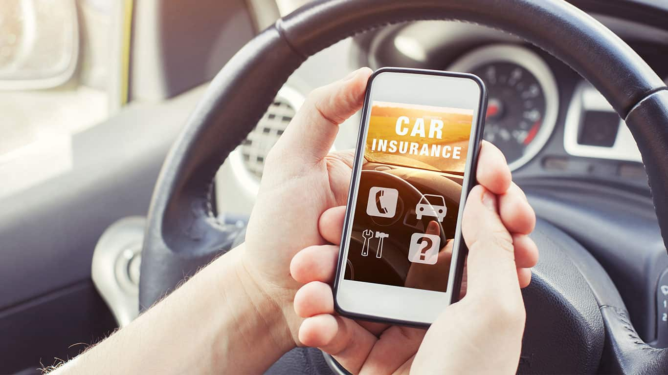 Car insurance concept, driver reading website on smartphone
