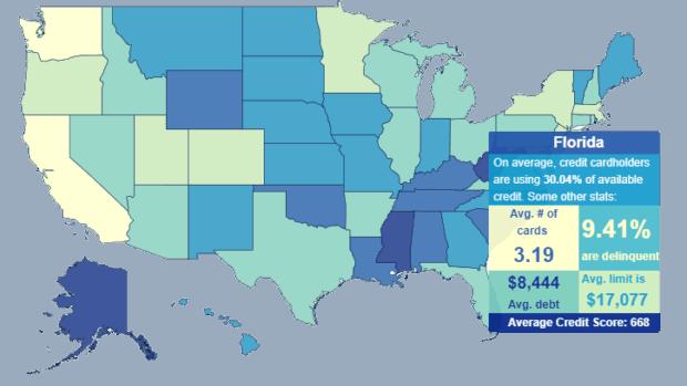 Credit Card Debt Statistic Map