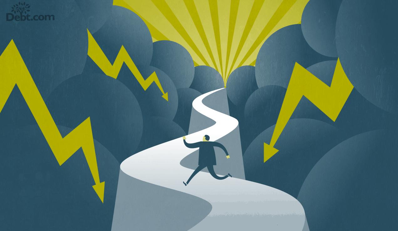debt settlement vs bankruptcy; illustration of man running on road through storm