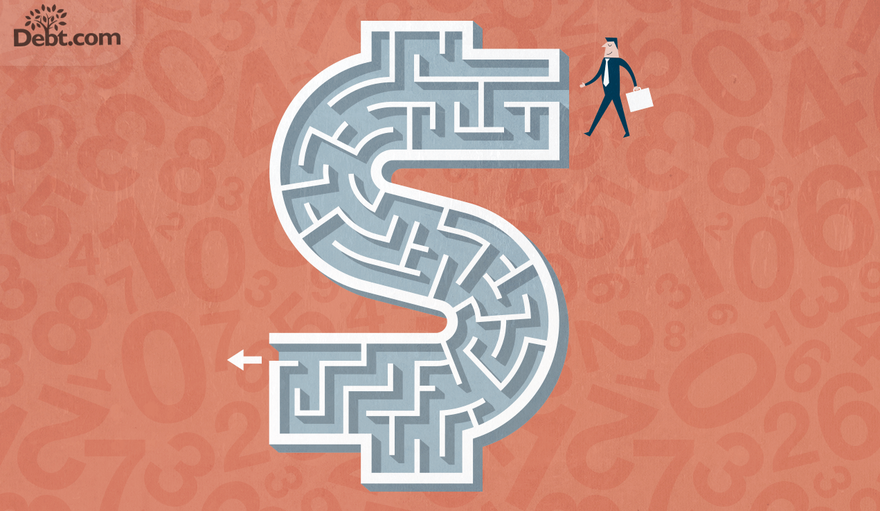 debt settlement vs bankruptcy; illustration of man going through money-shaped maze