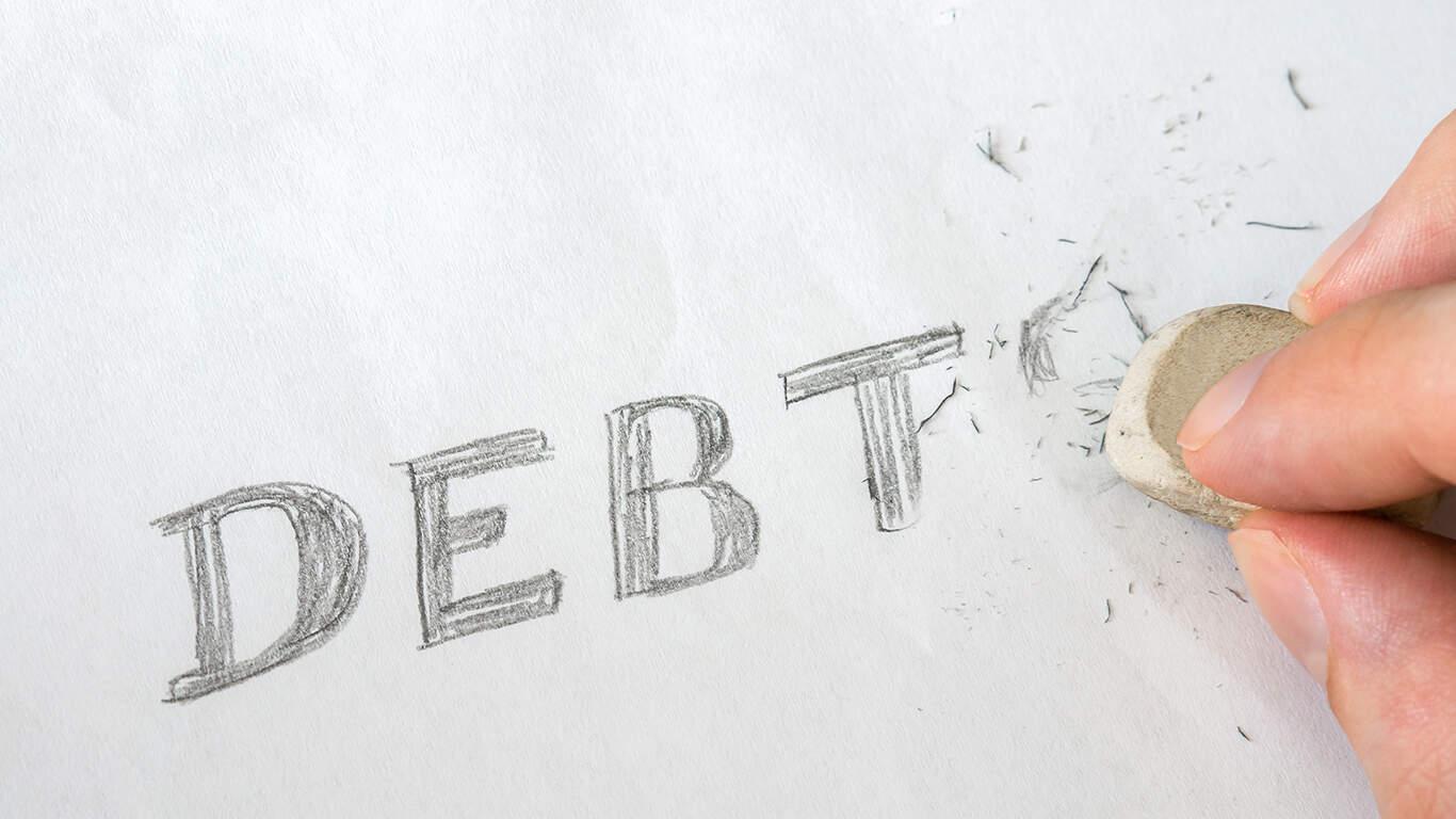 Erase debts written on paper with eraser