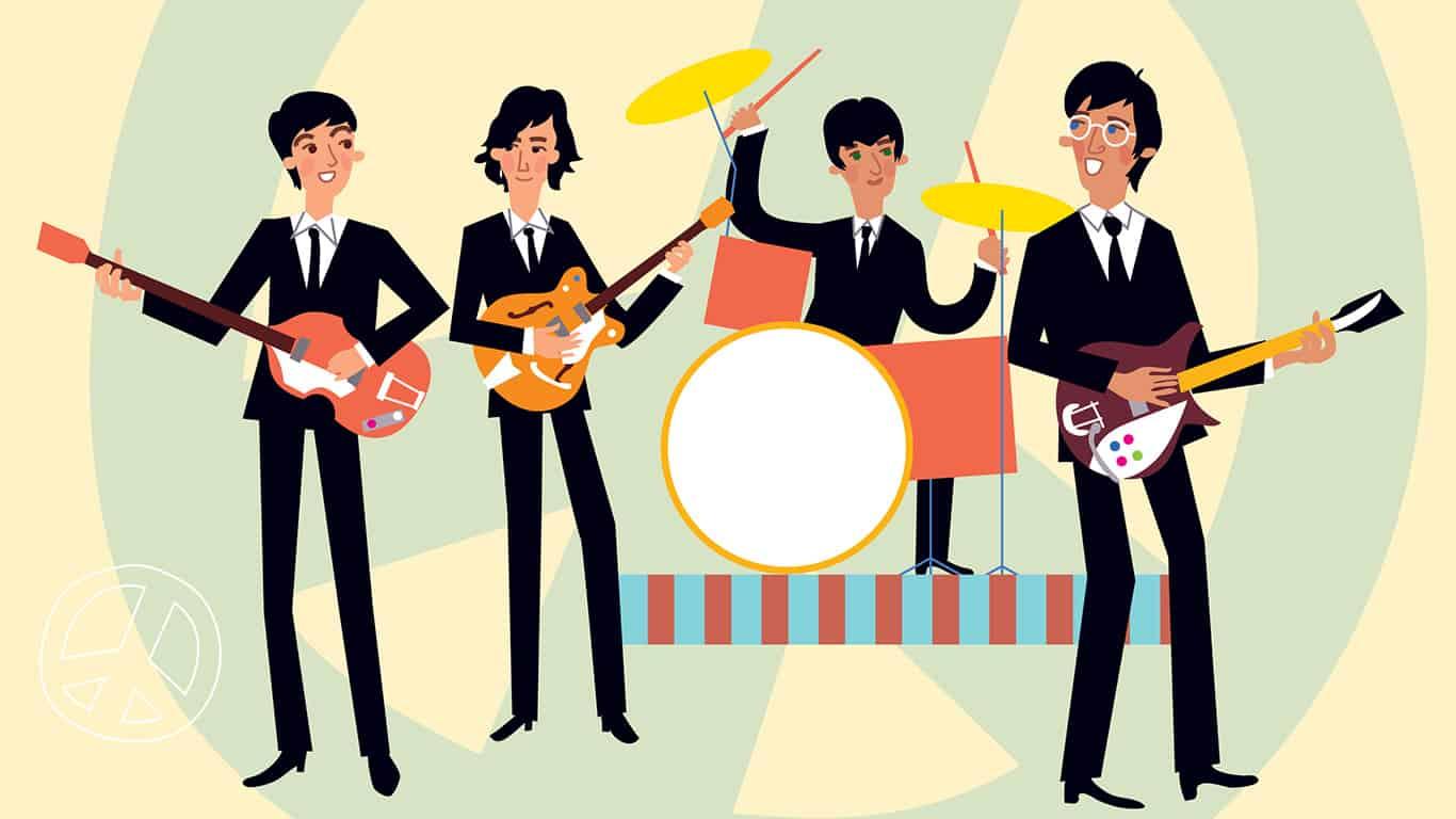 Music retro style band. Vector illustration.