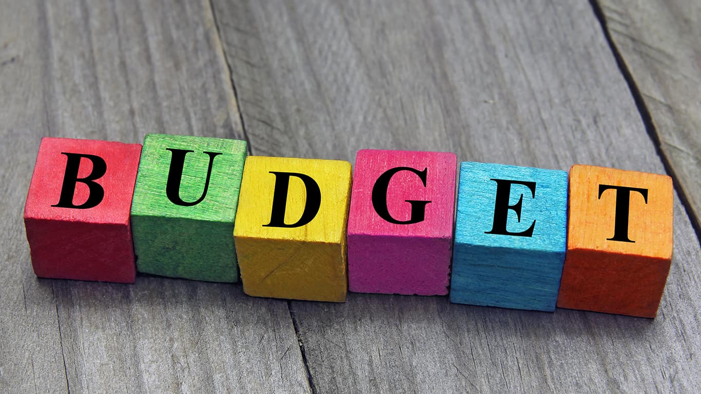 Concept of budget word on wooden cubes