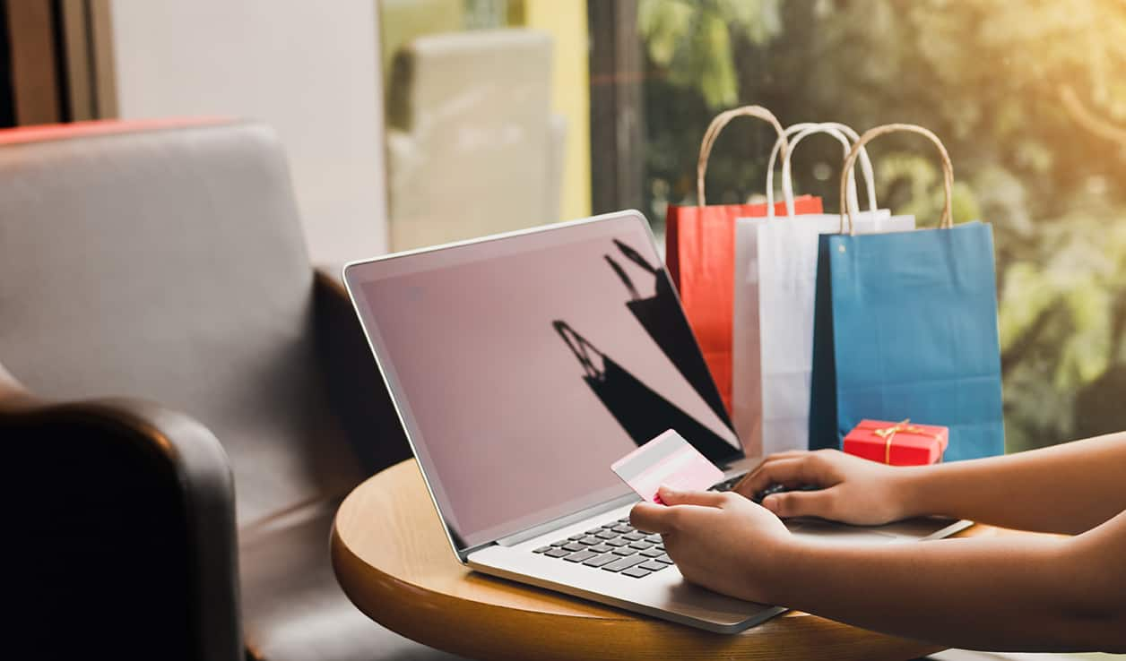 Women using laptop for shopping online and earn points to website