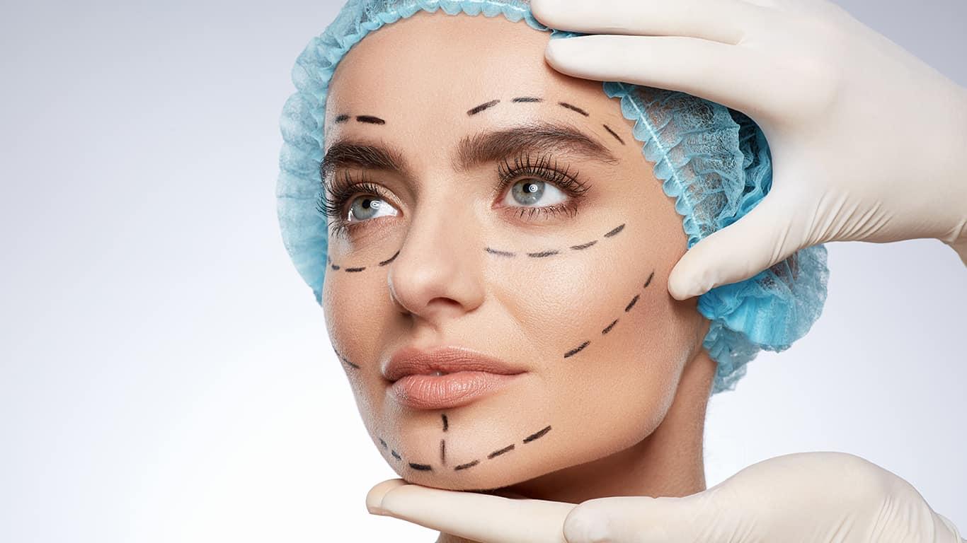 Beauty portrait of woman in blue cap looking aside, plastic surgery concept