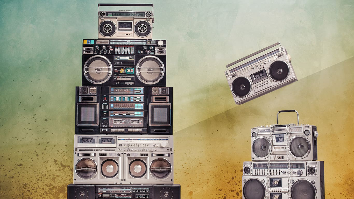 Retro design ghetto blaster boombox cassette tape recorders towers from 1980s