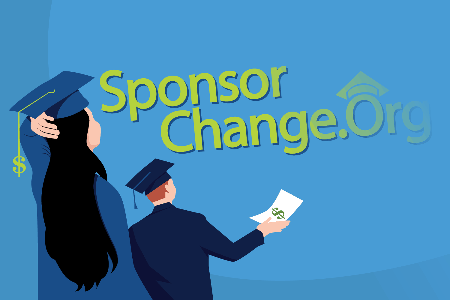 Illustration of students looking to Sponsor Change vanishing.