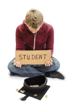 student begging for money