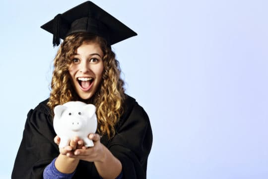 grants to pay off student loans; happy graduate with piggy bank