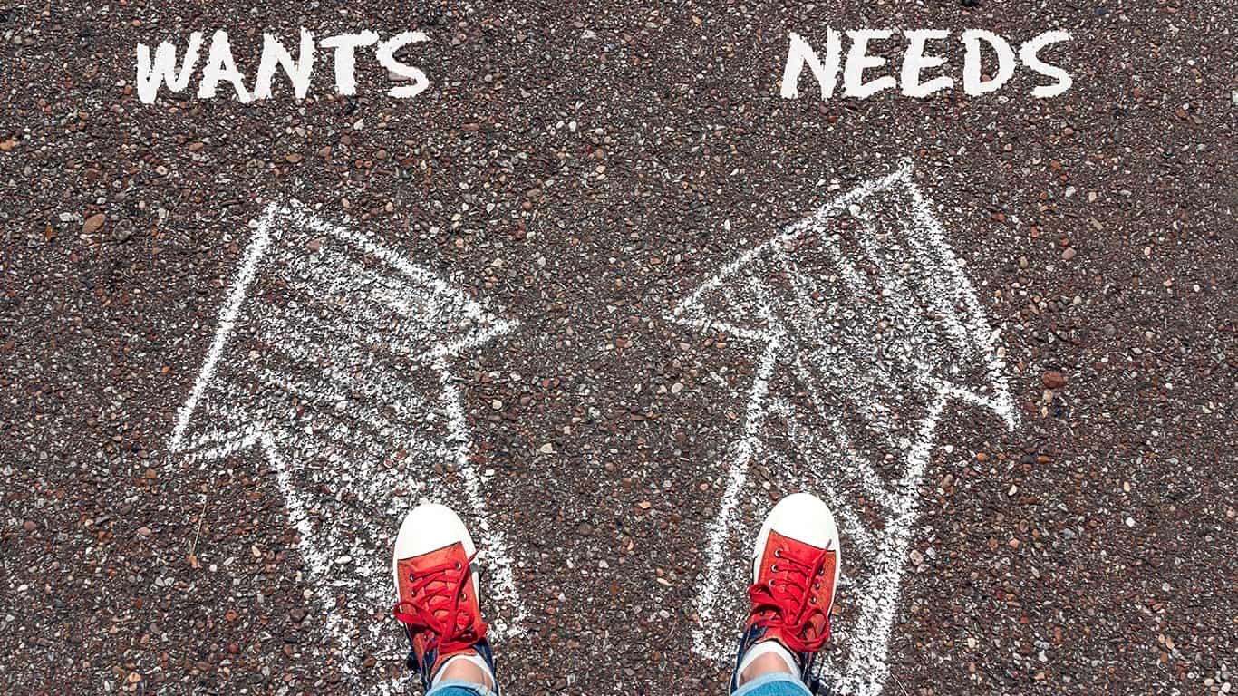 Wants vs needs