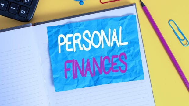 Conceptual hand writing showing Personal Finances