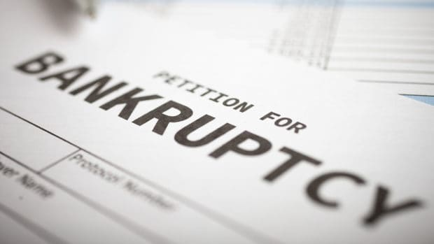 Close up of a bankruptcy petition