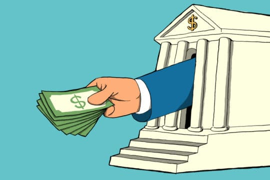 a bank with an arm reaching out the door and handing out money (illustrated)