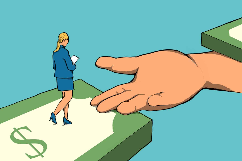 a business woman walking across a money