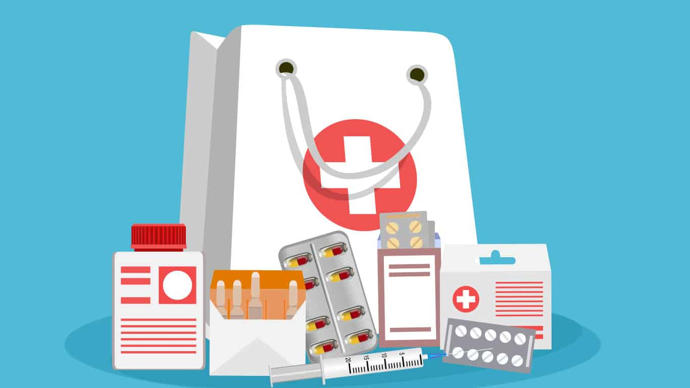 Miscellaneous medications in front of a white bag with a medical logo (illustrated)