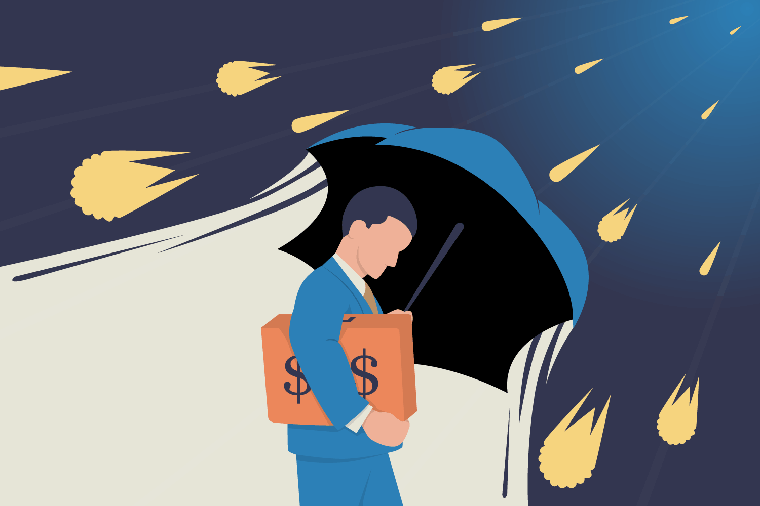 man with umbrella protecting him from falling meteors (illustrating)