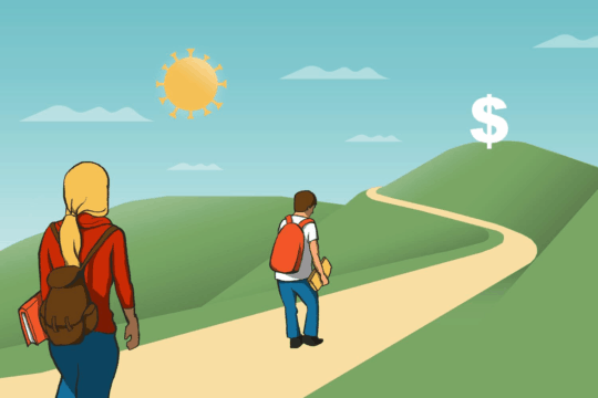 """students waling down a path toward a giant dollar sign with a """"coronavirus"""" sun (illustrated)"""