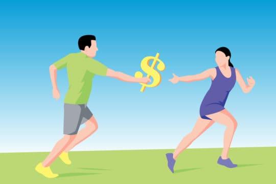 Illustration depicting runners passing dollar sign baton (illustration)