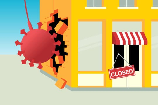 """a business being demolished by a """"corona virus"""" wrecking ball (illustrated)"""