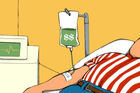 a person with an dollar sign IV bag (illustrated)