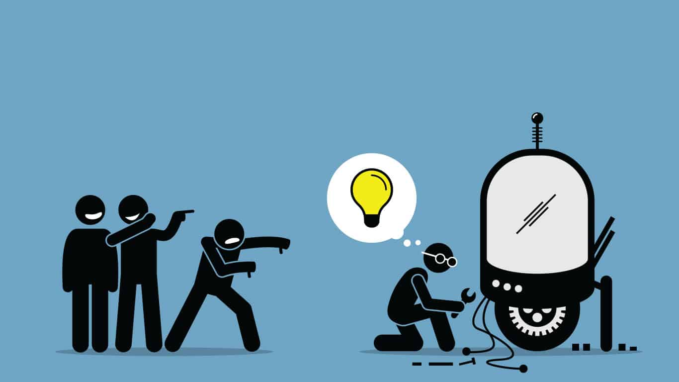 Critics Mocking and Making Fun of an Inventor from Creating and Inventing New Idea (illustration)