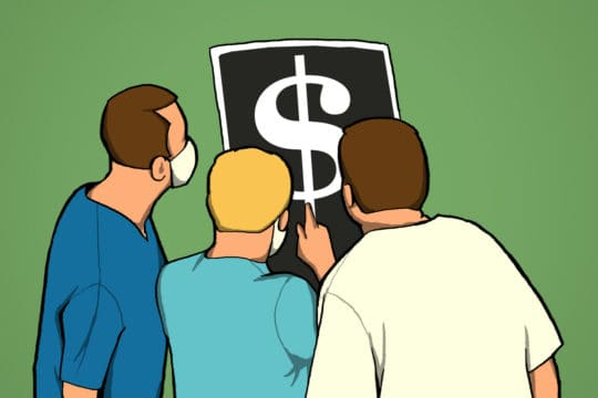 Illustration depicts doctors examining x ray with dollar sign.