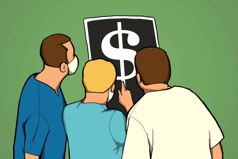 doctors examining x ray with dollar sign (illustration)