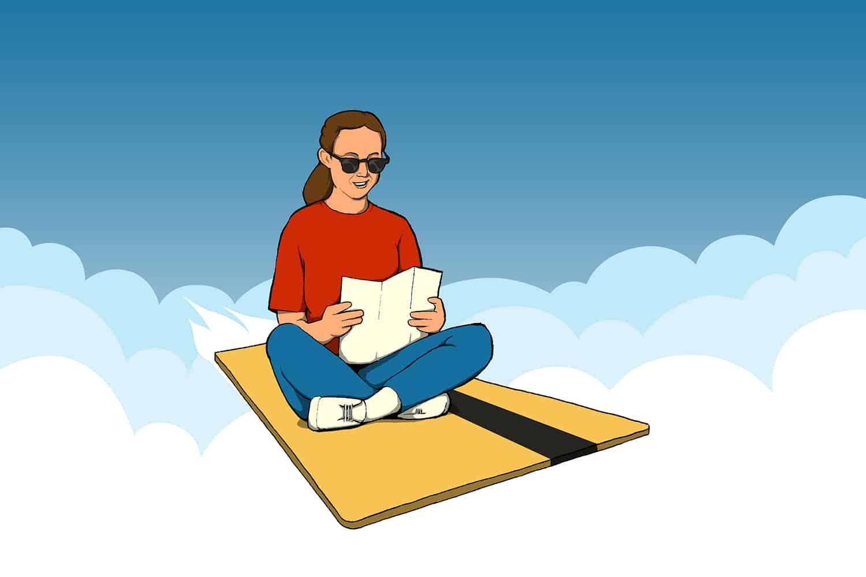 Illustration of girl riding a travel rewards credit card.