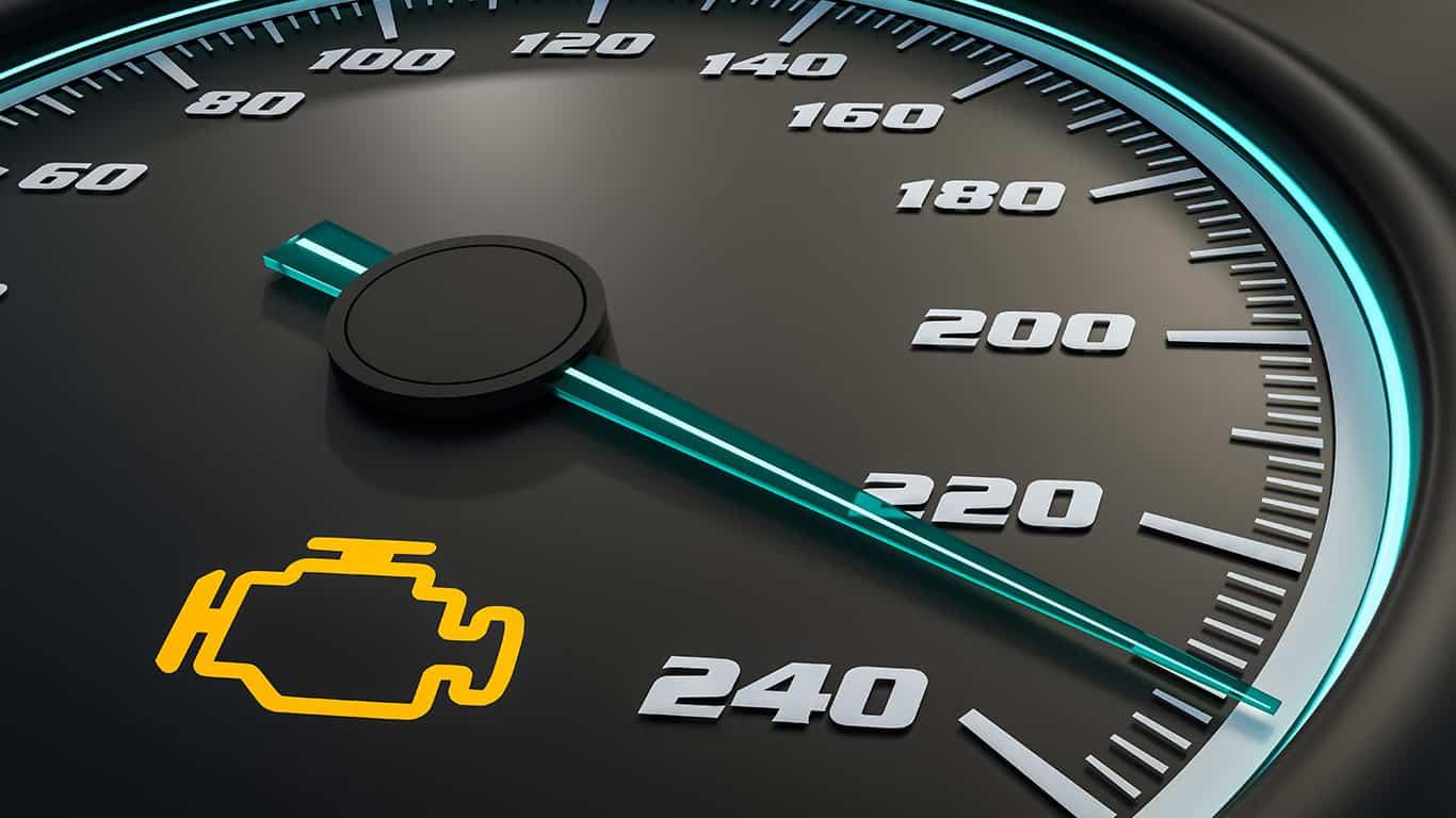 Engine check light on car dashboard. 3D rendered illustration