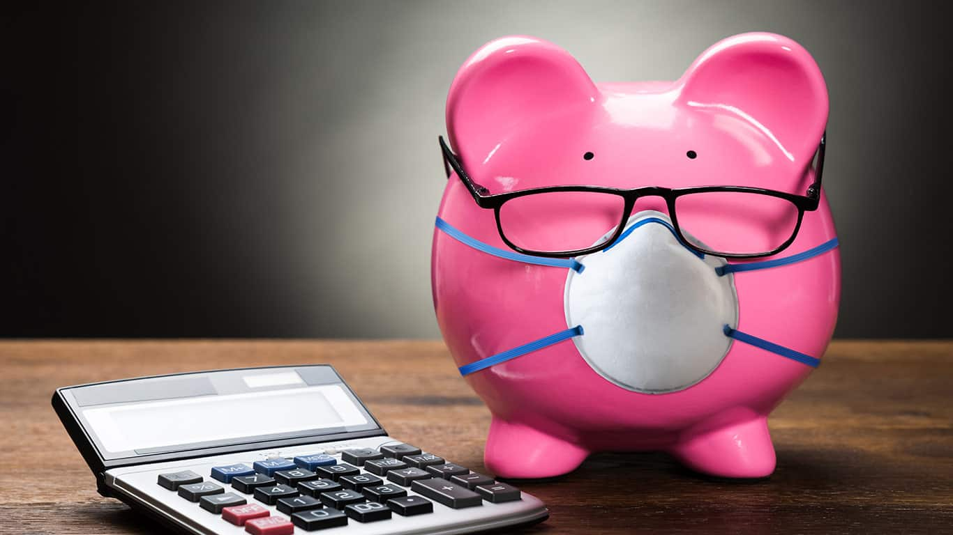 Piggybank With Face Mask During Coronavirus Recession