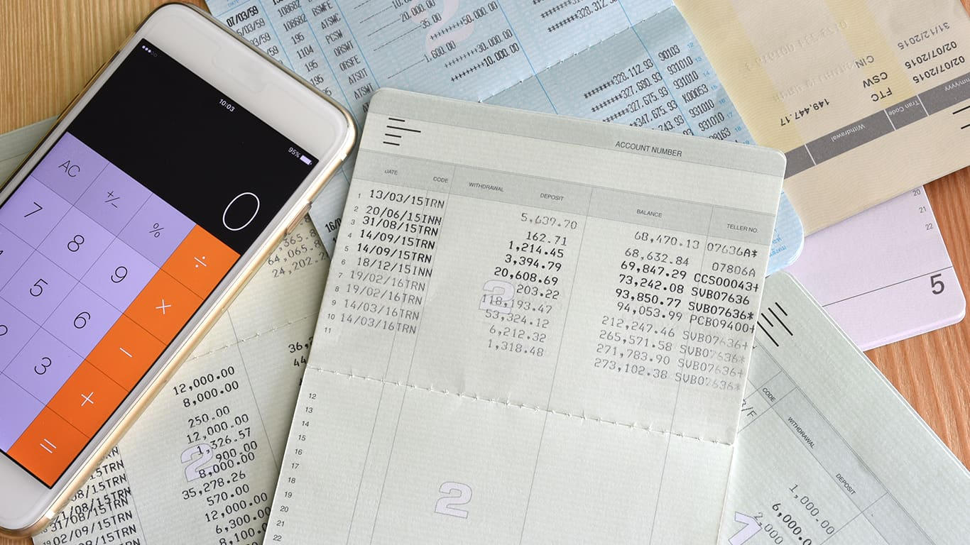 Saving account from bank with calculator for financial and loan