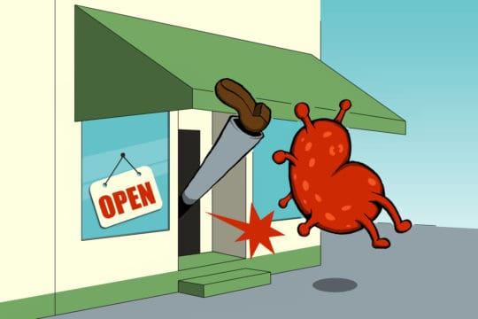 Illustration depicting small businesses thriving during COVID-19