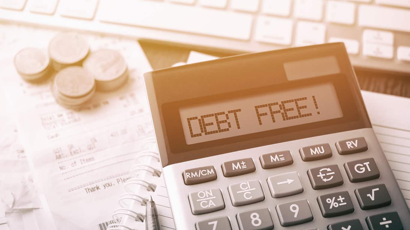 Calculator with text Debt Free