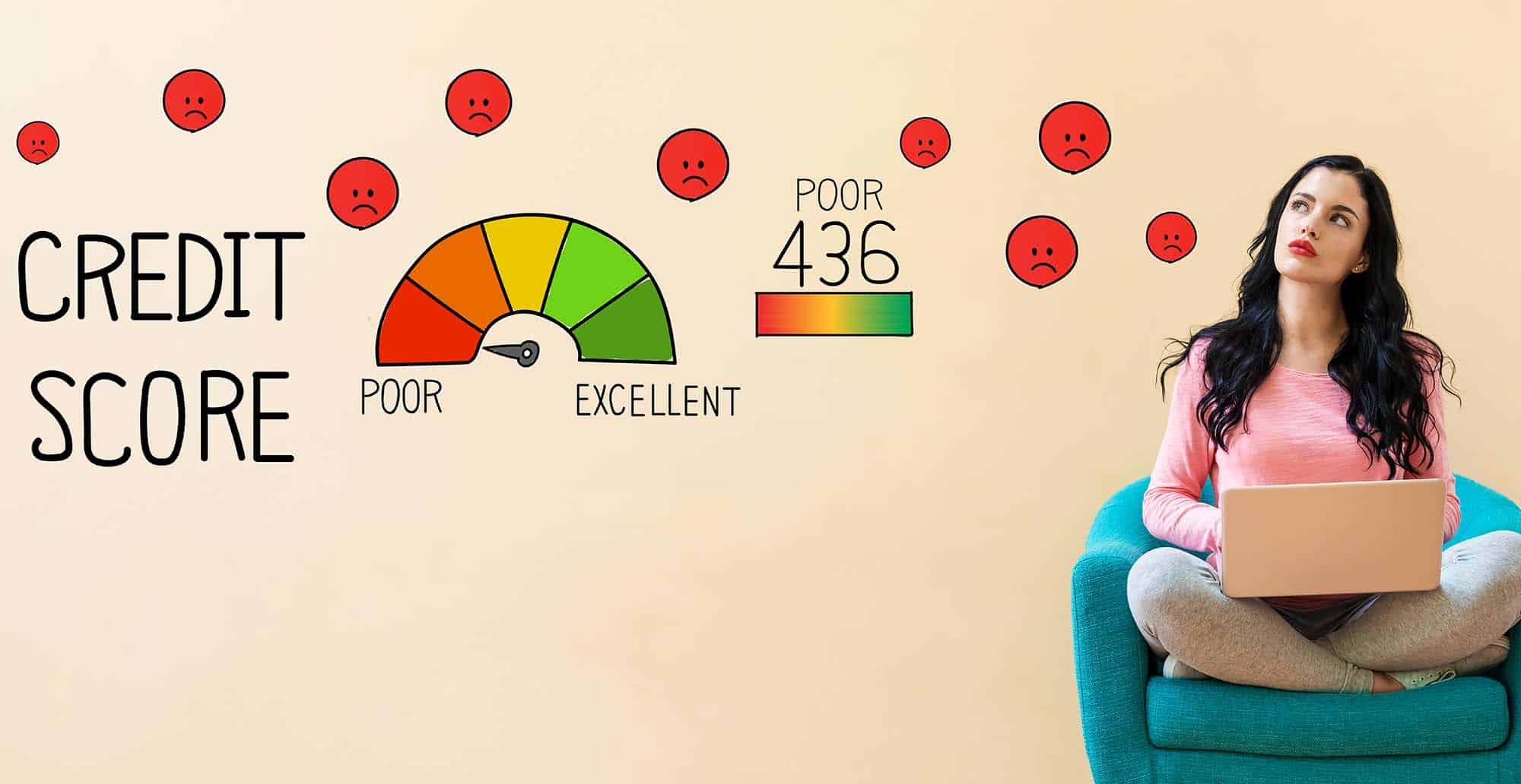 A woman contemplates how to achieve good credit from a bad credit score