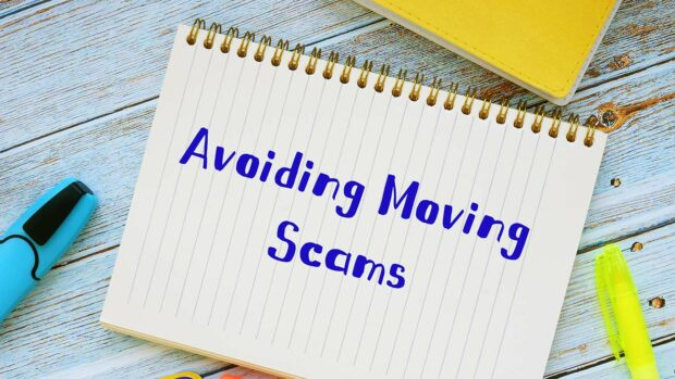 Avoiding Moving Scams sign on the page.