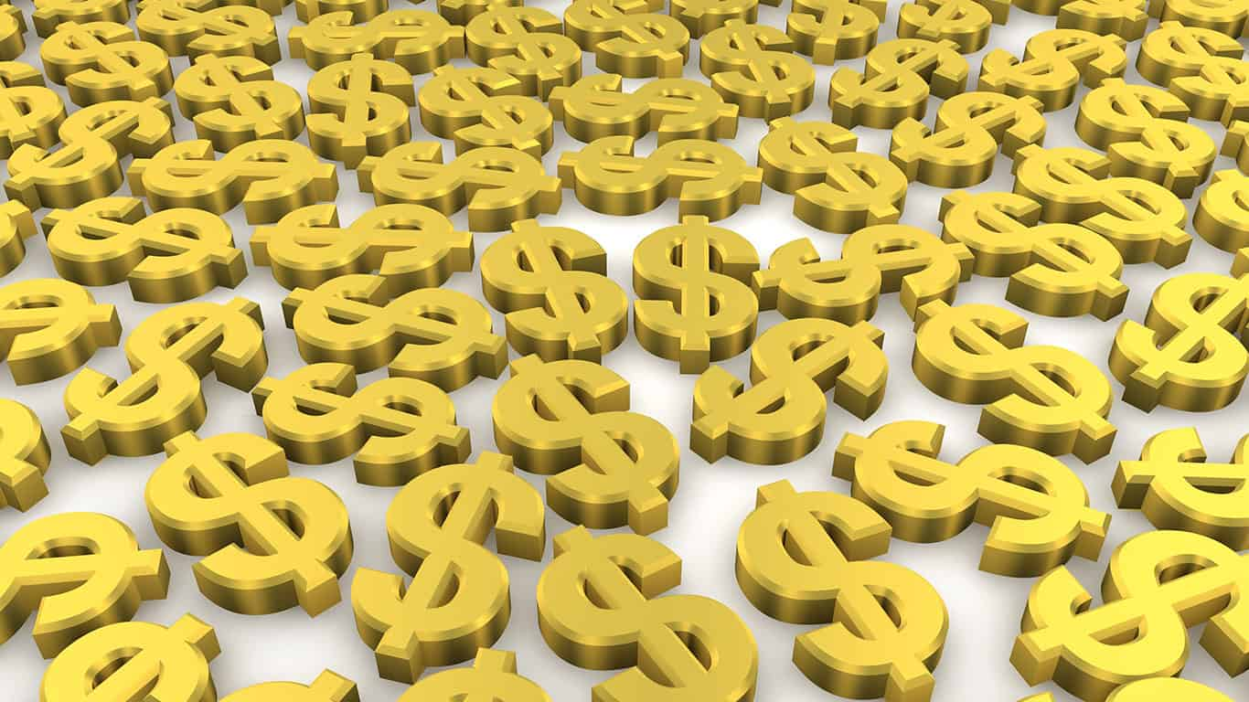 Golden dollar currency symbols background
