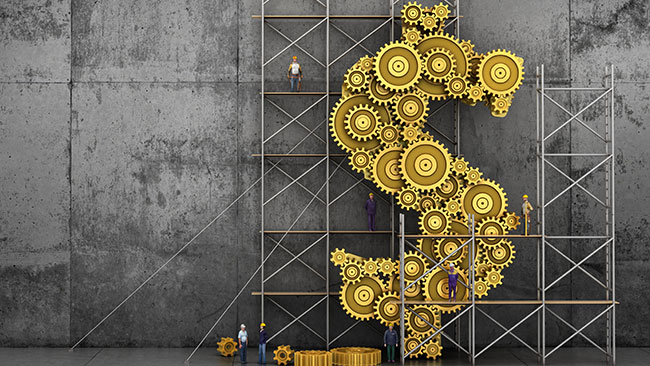 Financial concept. The gears mechanism in form of dollar sign