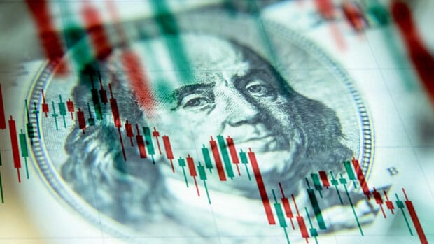 The us dollar against the background of a declining chart