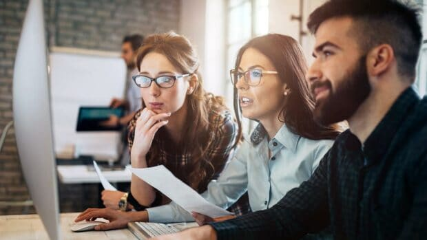 Company employees working in software development empleado